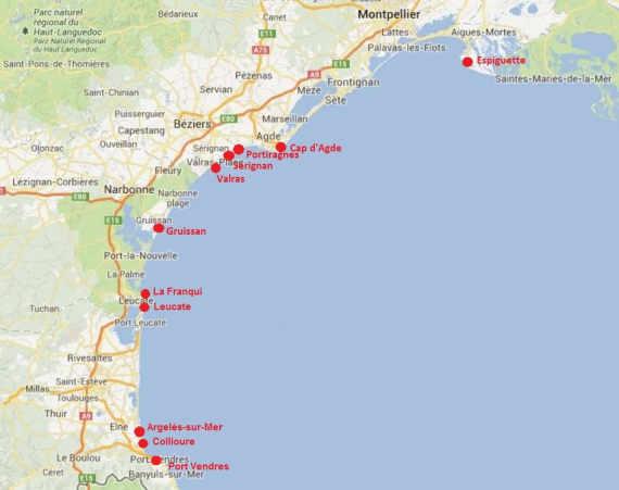 la carte des meilleures plages du Languedoc-Roussillon